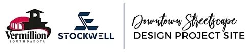 City of Vermillion Logo, Stockwell Engineer Logo, Downtown Streetscape Design Project Site