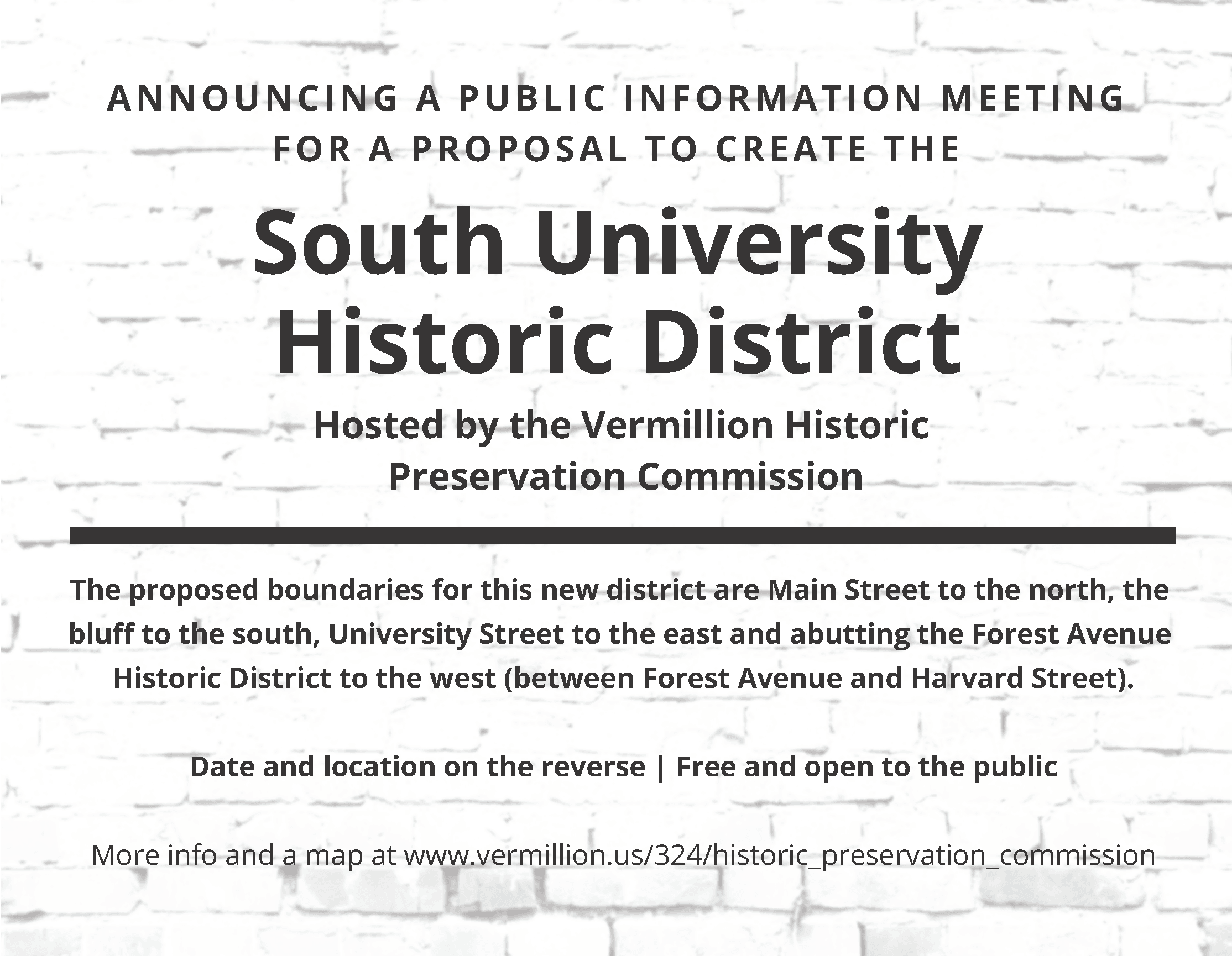 South University Historic District Meeting Ad